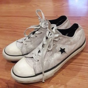Converse shoes silver sparkle one star lowtop